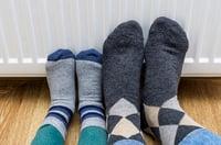Feet on a heater