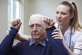 Elderly man being tested for possible stroke