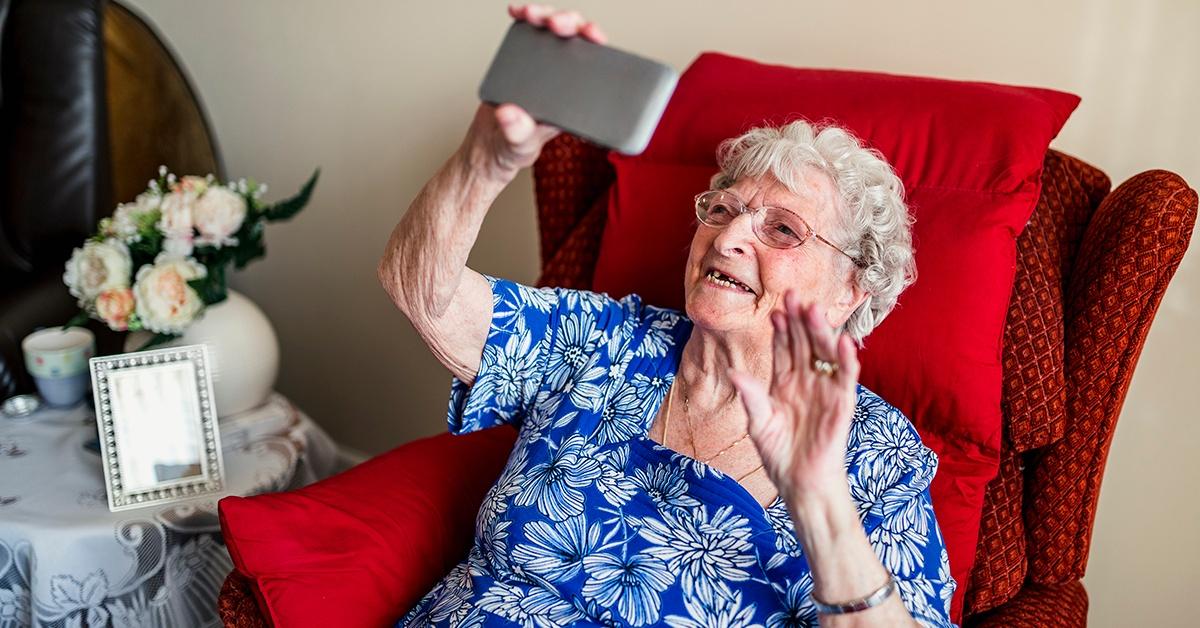 Senior woman and smart phone