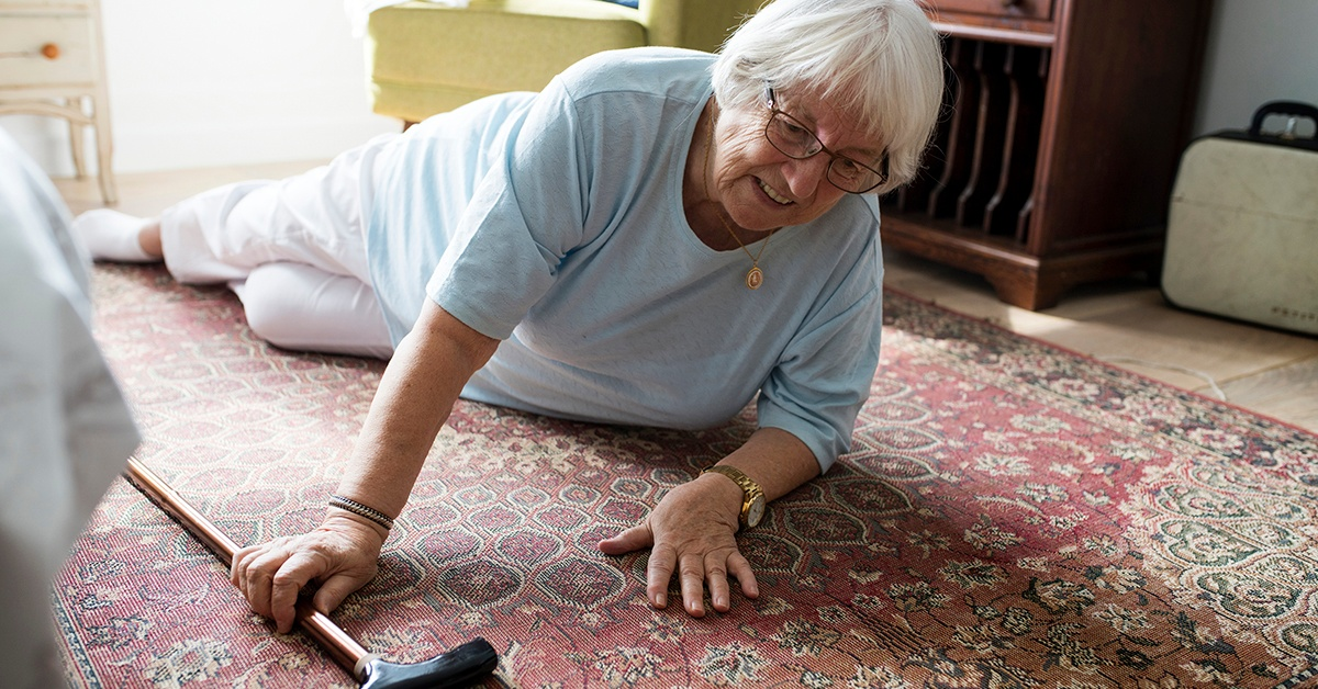 Senior woman fallen on the floor