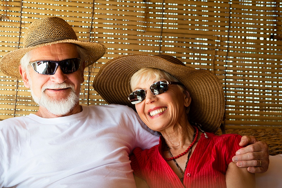 Senior Couple with Hats and sunglasses
